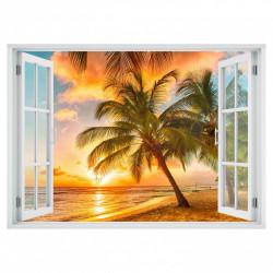 Stickere pentru pereți, Fereastra 3D cu vedere spre mare la apus de soare