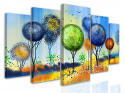 Tablou modular, Copaci multi-color în stil abtract