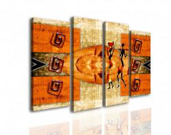 Tablou modular, Ilustrație de fete vintage africane