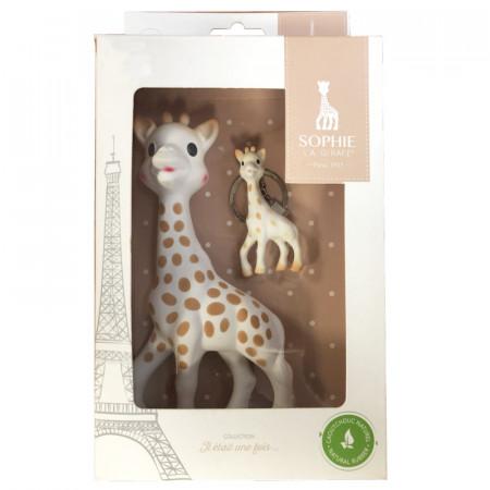 Vulli Set aniversar Girafa Sophie in cutie cadou cu breloc