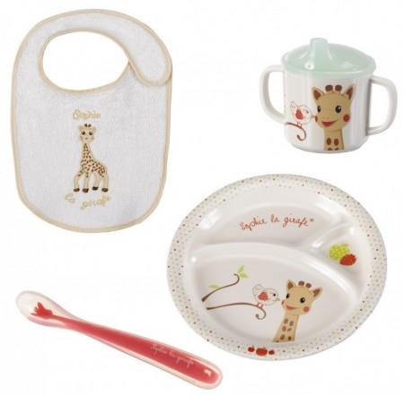 Vulli 'Primul meu set pentru masa' melamina Girafa Sophie & Kiwi cutie cadou