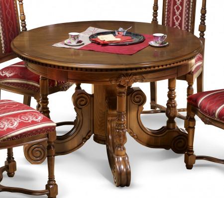 Masa rotunda extensibila din lemn masiv cu picioare sculptate MAME-15