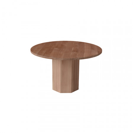 Masa rotunda din lemn masiv cu picior cilindric poligonal MAMR-10
