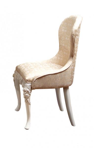 Scaun din lemn masiv, cu motive florale, spatar curbat si tapitat SSA-26