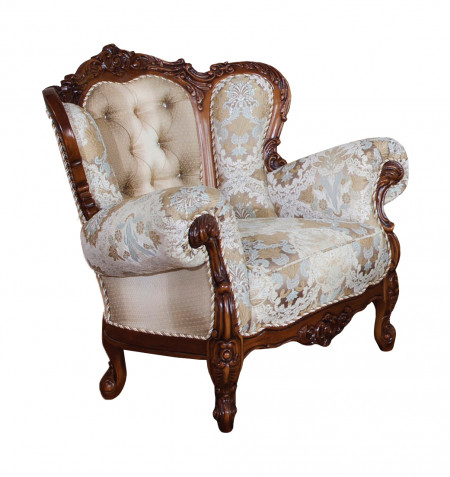 Fotoliu din lemn masiv cu tapiterie eleganta, spatar luxos in forma de evantai MRFC-11