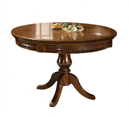 Masa rotunda din lemn masiv cu insertii de furnir MAMR-6