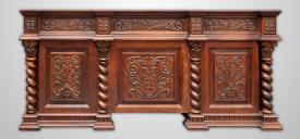 Masa birou din lemn masiv stil colonial sculptat MBMB-10