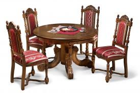 Masa rotunda extensibila din lemn masiv cu insertii de furnir MAME-14