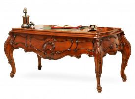 Masa birou din lemn masiv cu linii curbe, zvelte si insertii lucrate manual MBMB-4