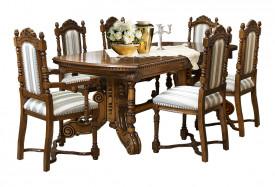 Masa extensibila din lemn masiv lucrat manual (206-296 cm x 100 cm) MAME-3