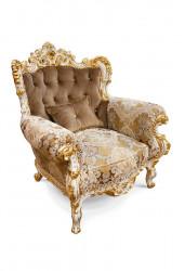 Fotoliu din lemn masiv, cu tapiterie eleganta, stil Rococo MRFC-12