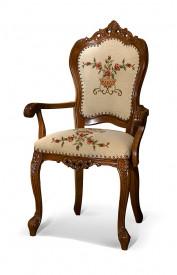 Scaun cu brat din lemn masiv, sculptat, elegant SSA-19