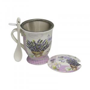 Cana cu infuzor Lavender Bouquet, Portelan&Inox, 300 ml