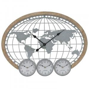 Ceas de perete TimeZone, Lemn&Metal, Charisma 80X5X60