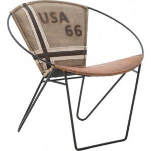 Scaun de piele USA 66, Metal, 75X65X75/43