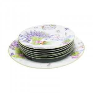 Set tort 7 piese Lavender, Portelan, D27 cm