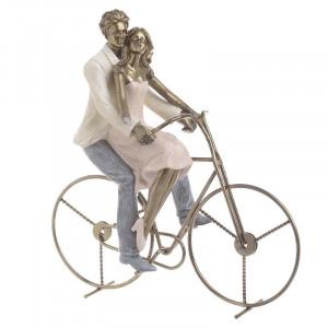 Decoratiune Couple on bike, Rasina, 26x14x27
