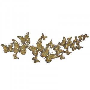 Decoratiune de perete Golden Butterflies, Charisma, Metal, 118Χ2Χ42