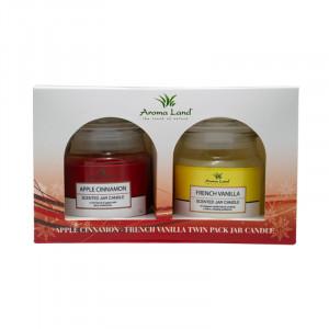 Set 2 lumanari decorative, Apple&Cinnamon + Vanilla, 20h
