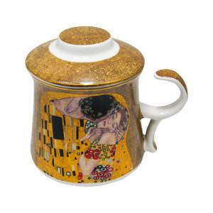 Cana cu infuzor Klimt Kiss, Charisma, Portelan, 300 ml
