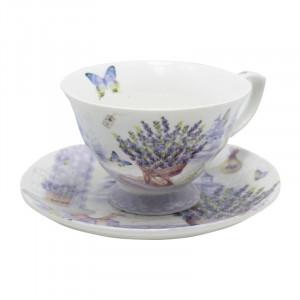 Set ceasca cafea de o persoana Lavender, Portelan, 150 ml