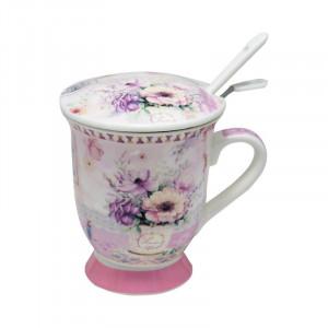 Cana cu infuzor Beautiful Flowers, Portelan&Inox, 300 ml
