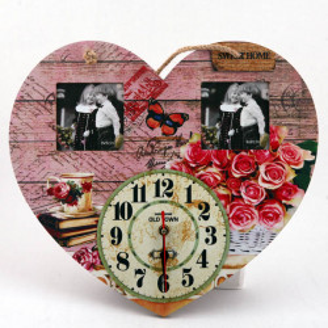 Ceas de perete cu rame foto Rose