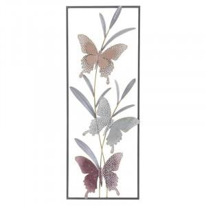Decoratiune de perete Butterflies, Metal, 29x4x74