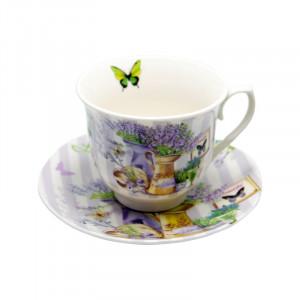 Set 6 cesti ceai Beautiful Lavender, Portelan, 150 ml