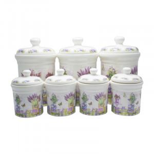 Set 7 recipiente de condimente Lavender, Portelan