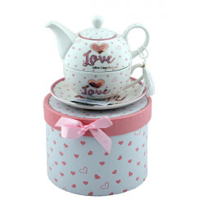 Ceainic portelan cu ceasca Pink Love, 270 ml