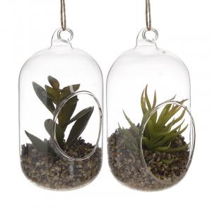 Floare artificială Glass Cactus, Sticla, 7x7x13.5