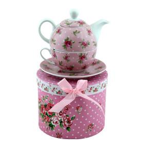 Ceainic portelan cu ceasca Pink Roses, 270 ml