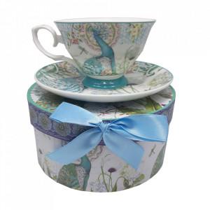 Ceasca ceai paun albastru + cutie cadou