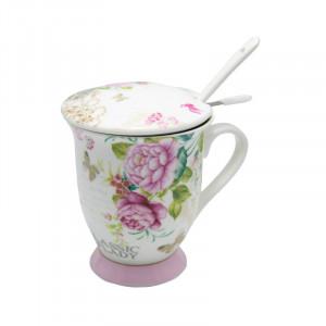 Cana cu infuzor Beautiful Roses, Portelan&Inox, 300 ml