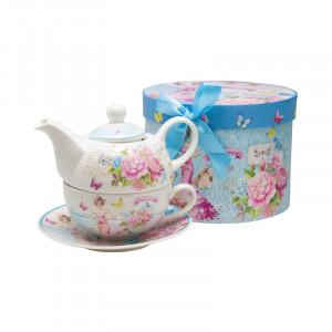 Ceainic cu ceasca Pink Flowers, Portelan, 270 ml