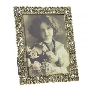 Rama foto decorativa cu strasuri, Metal, 13x18