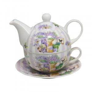 Ceainic cu ceasca Beautiful Lavender, Portelan, 270 ml