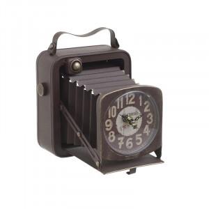 Ceas de masa Vintage Camera, Metal, 19Χ15Χ20