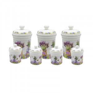 Set condimente Lavender, Portelan, 7 recipiente
