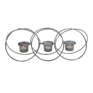 Suport 3 lumanari Silver Sphere, Metal&Sticla, 46x8x18