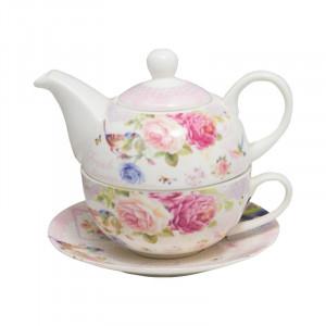 Ceainic cu ceasca Spring Flowers, Portelan, 270 ml