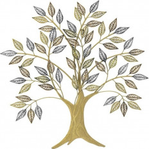 Decor Perete Metal Tree, Charisma, Gold/Black, 76Χ2Χ83