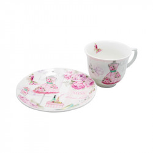 Set 6 cesti ceai Classic Lady, Portelan, 150 ml