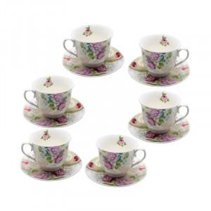 Set 6 cesti ceai Spring Flowers, Portelan, 150 ml