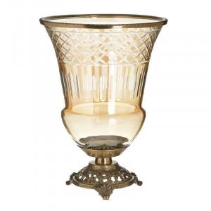 Vaza decorativa Bronze, Sticla si Metal, D22x30