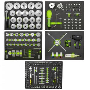 Set Complet de 5 Sertare cu Instrumente de Schimbare Ulei pentru Carucior de Scule, JBM