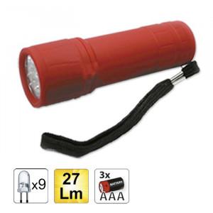 Lanternă de Plastic cu 9 Leduri, culoare Roșu