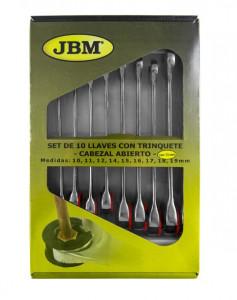 Set de 10 Chei Hexagonale Combinate cu Clichet si Cap Semideschis, JBM