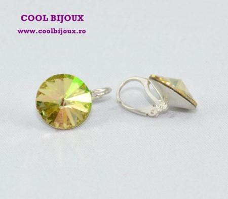 Cercei cu cristale SWAROVSKI ELEMENTS - Luminouse Green